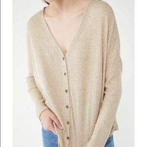 UO Out From Under Oversized Waffle Button-Front